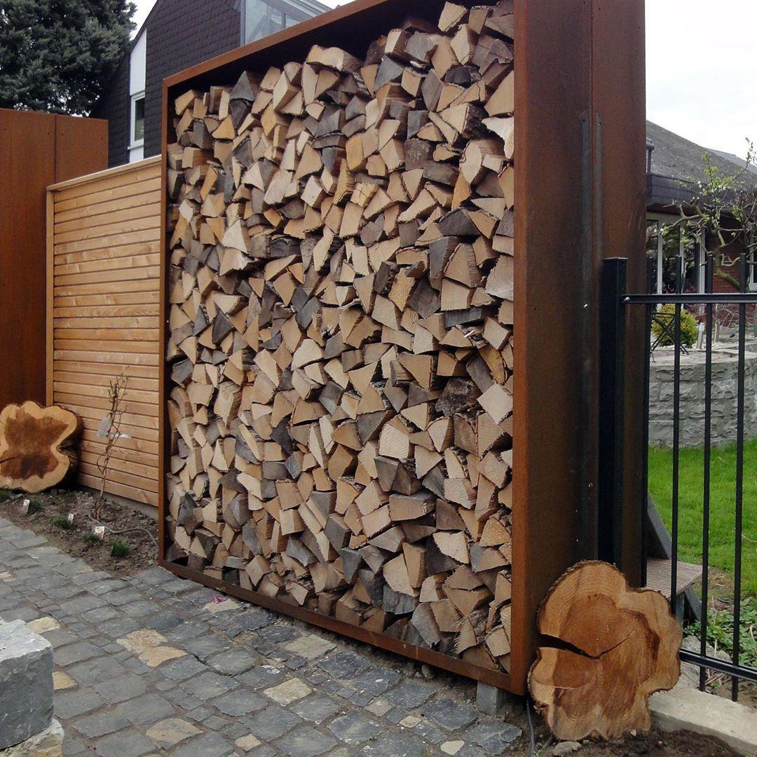 Campo Holzlager Und Sichtschutz In Einem Garten Campo Gartengestaltung Gartenliebe Corten Taaroa Taaroagarten Solothurn Schweiz Garten Resim