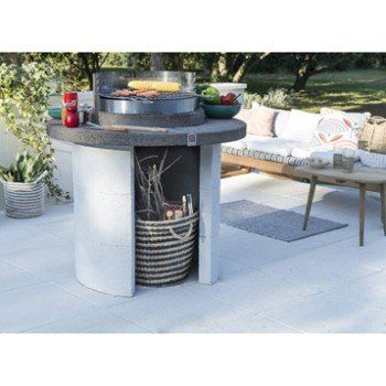 Barbecue En Béton Beige Et Gris Mercurio L102 X L102 X H
