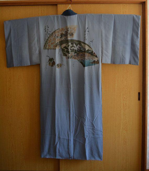 Men\'s blue silk juban robe, vintage Japanese under kimono, long robe ...
