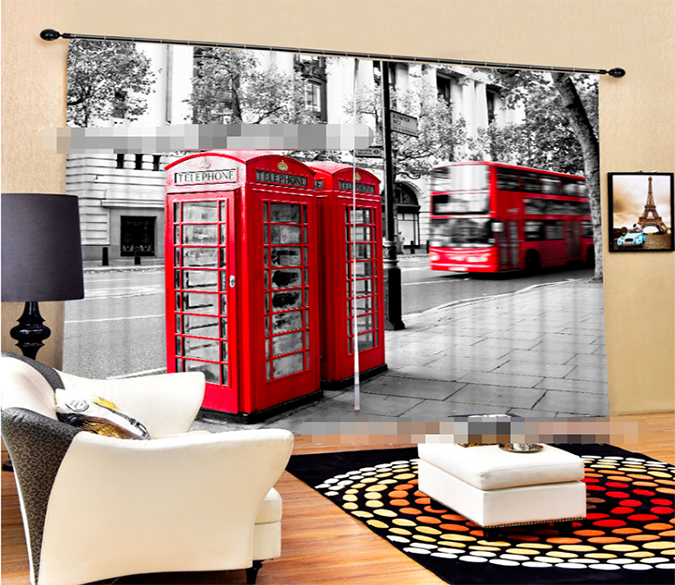 Red Bus London City 3D Blockout Photo Printing Curtains Draps Fabric Window