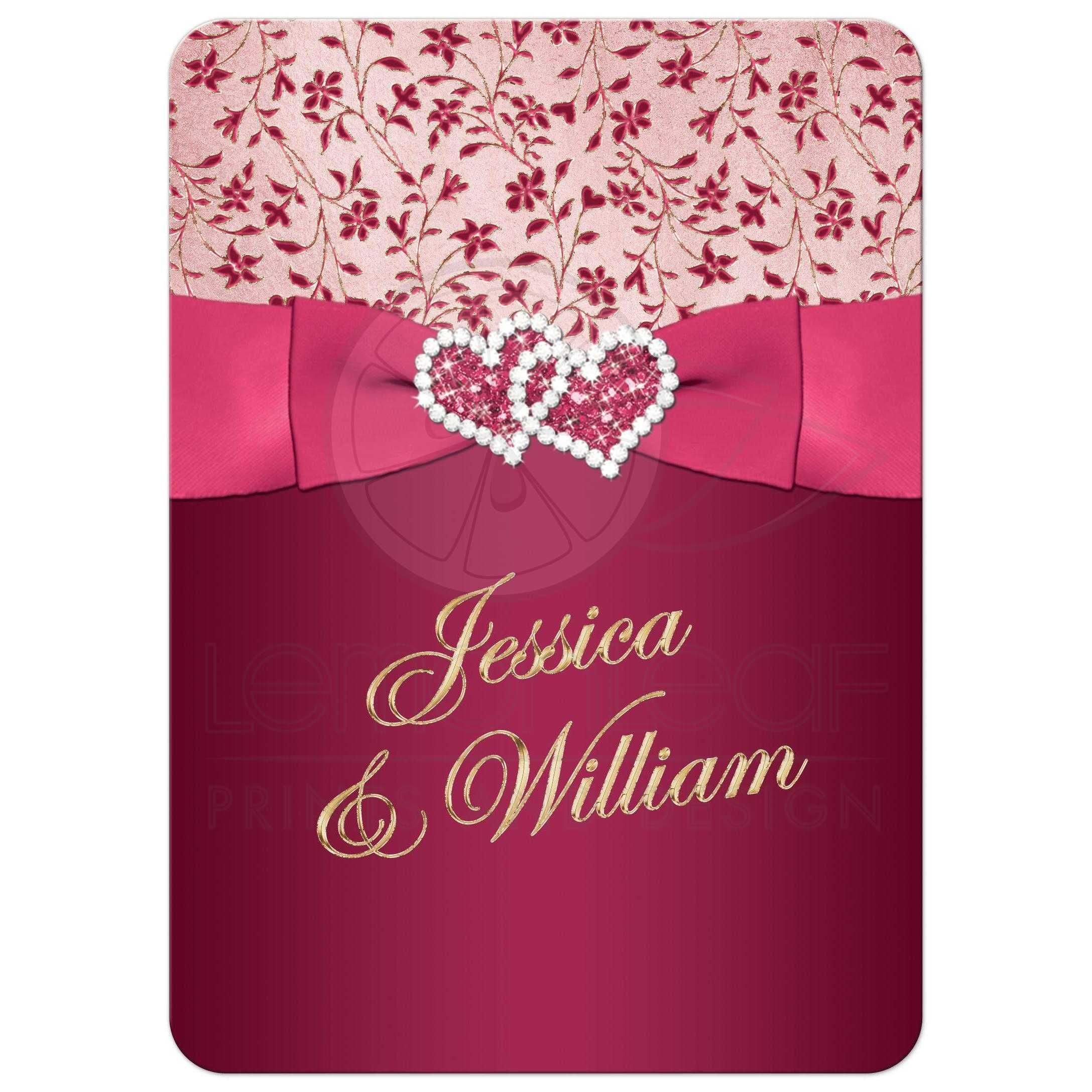 Wedding Invitation Burgundy Pink Rose Gold Fl Printed Ribbon Joined Hearts