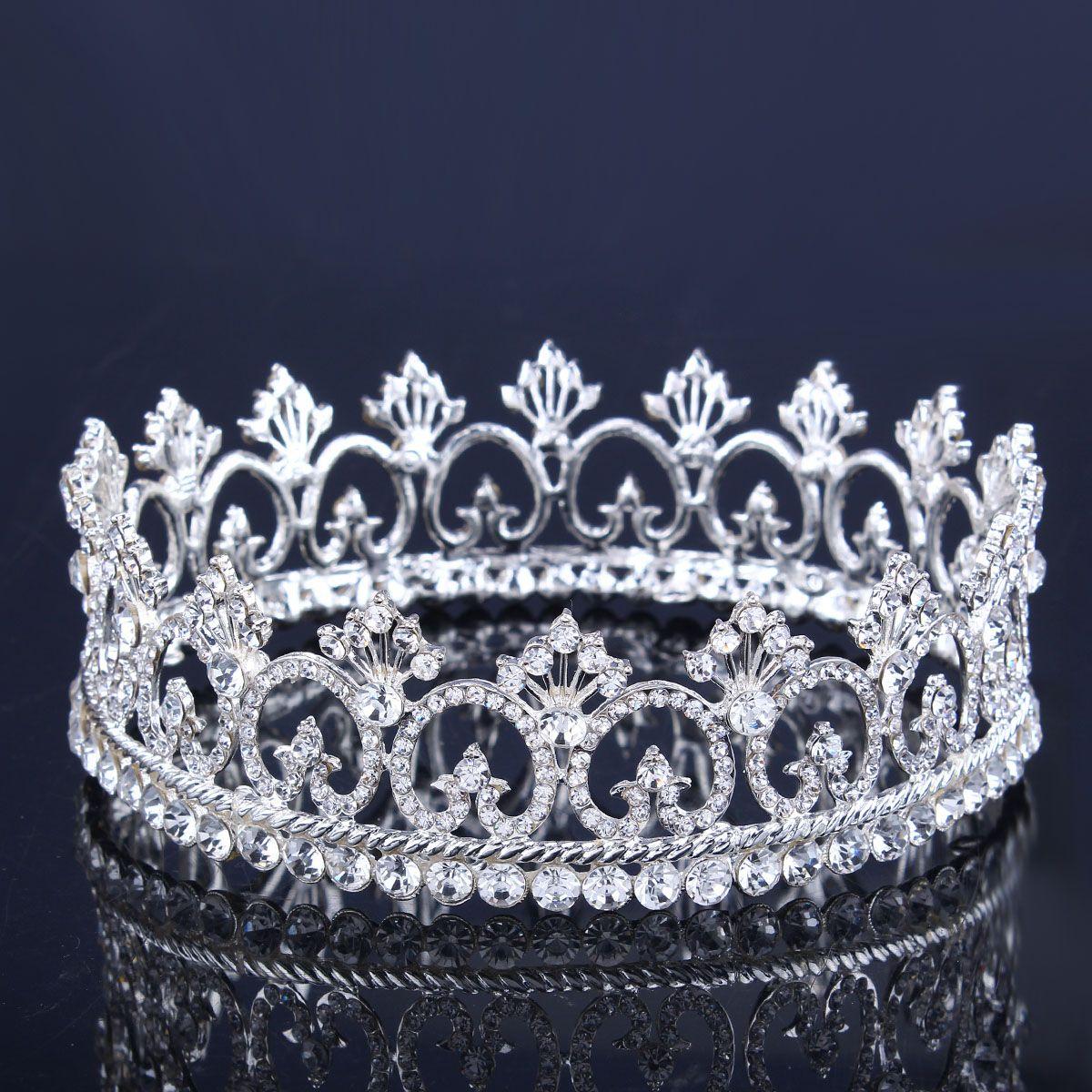 Crowns full circle round tiaras rhinestones crystal wedding bridal - Hot Rhinestone Crown Tiara Wedding Pageant Bridal Diamante Headpiece Jewelry