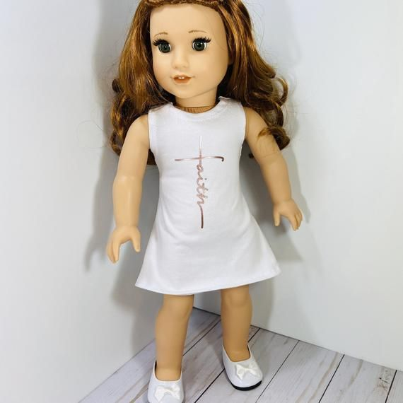 18 inch Doll clothes -  white faith graphic dress fits doll like American Girl, One Generation, and My Life #18inchdollsandclothes