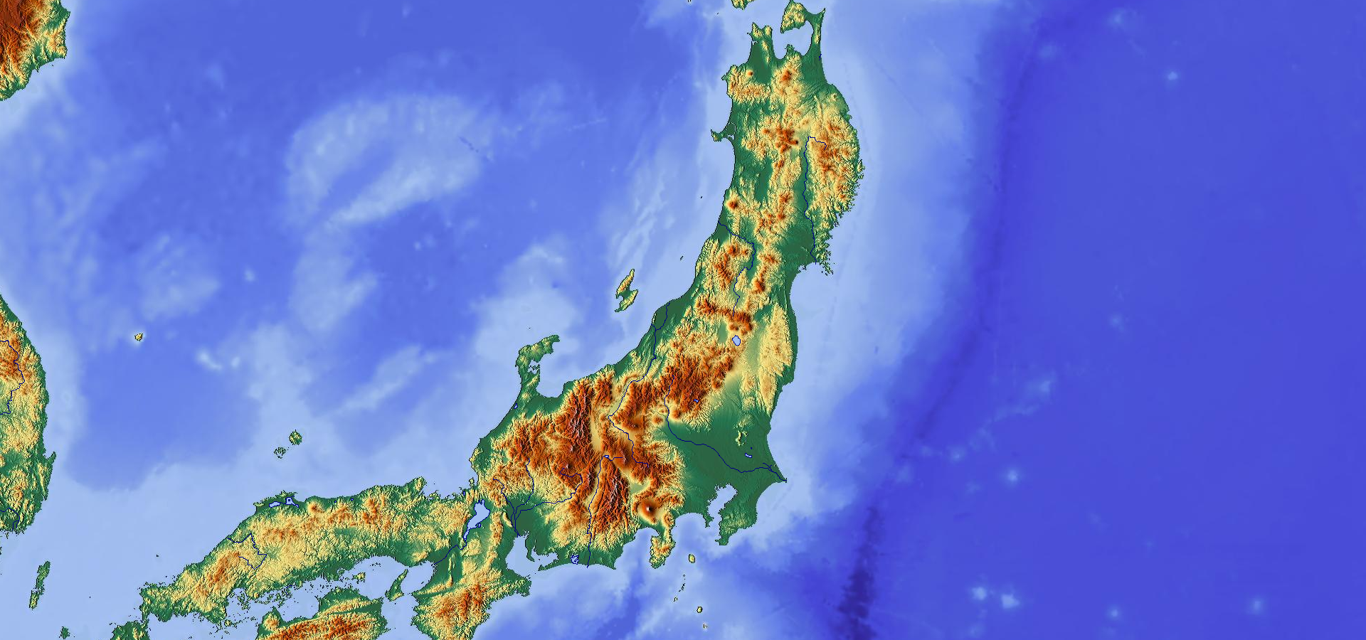 Topographic map of Honshu, Japan | MAPS