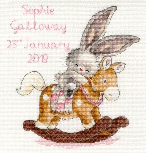 Photo of Rock a Bye Bunny Birth Sampler – Blue or Pink