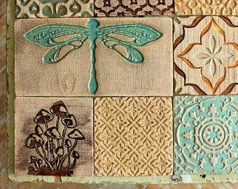 Libellula & funghi mattonelle rustiche in ceramica Set di 9 per ...