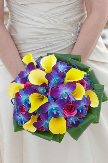 Hot Pink Roses Yellow Mini Calla Lilies Blue Dendrobium Orchids