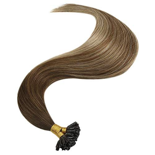 JoYoung Balayage U Tip Keratin Hair Extensions Human Hair Pre-Bonded Ombre Extensions 1g/s 14inch Dark Brown to Medium Brown with Blonde Hot Fusion Bond Human Hair 50g