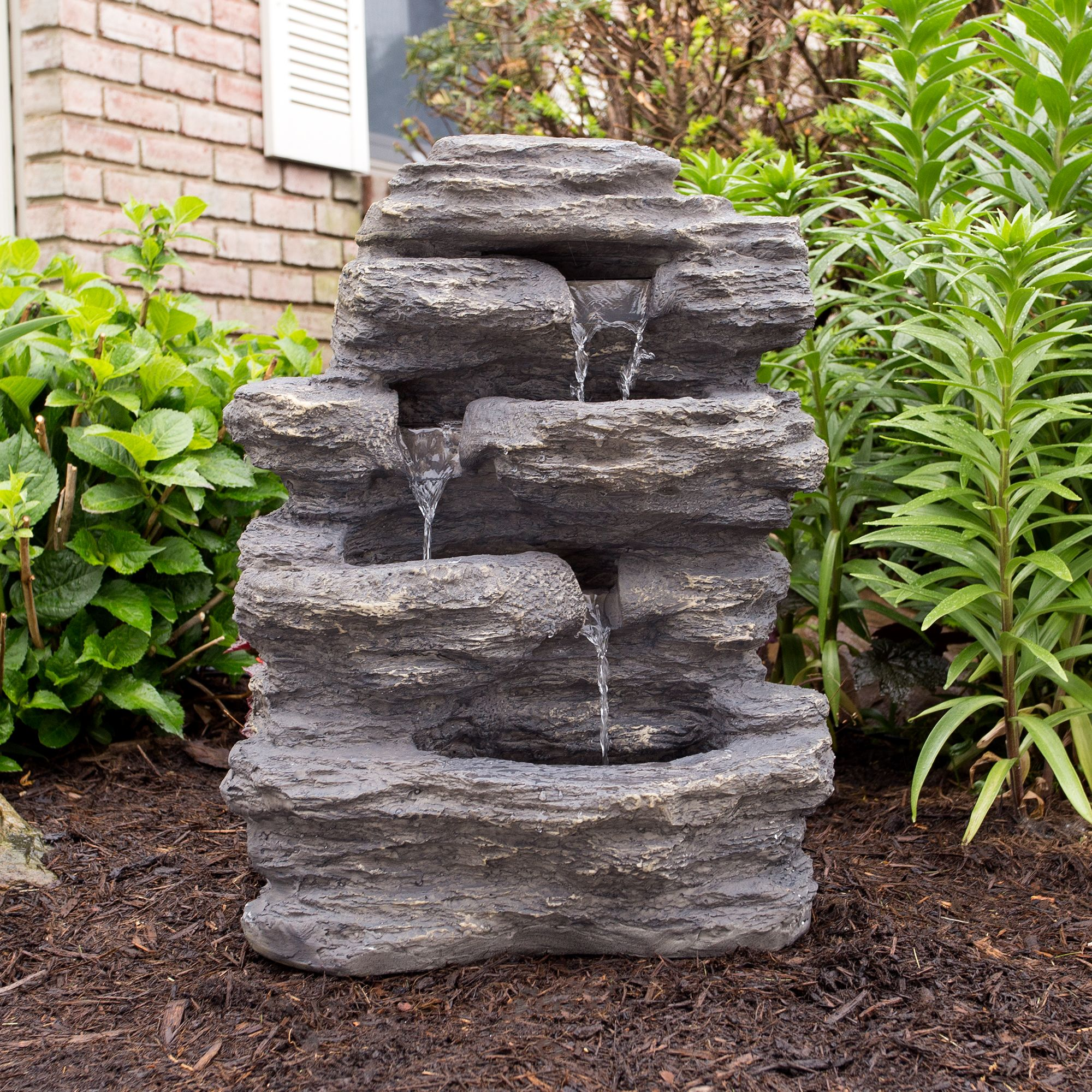 Outdoor Water Fountain With Cascading Waterfall Natural Looking