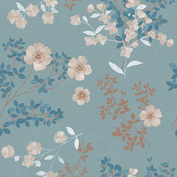 28277232 Wallpaper Prairie Rose Teal Floral Wallpaper