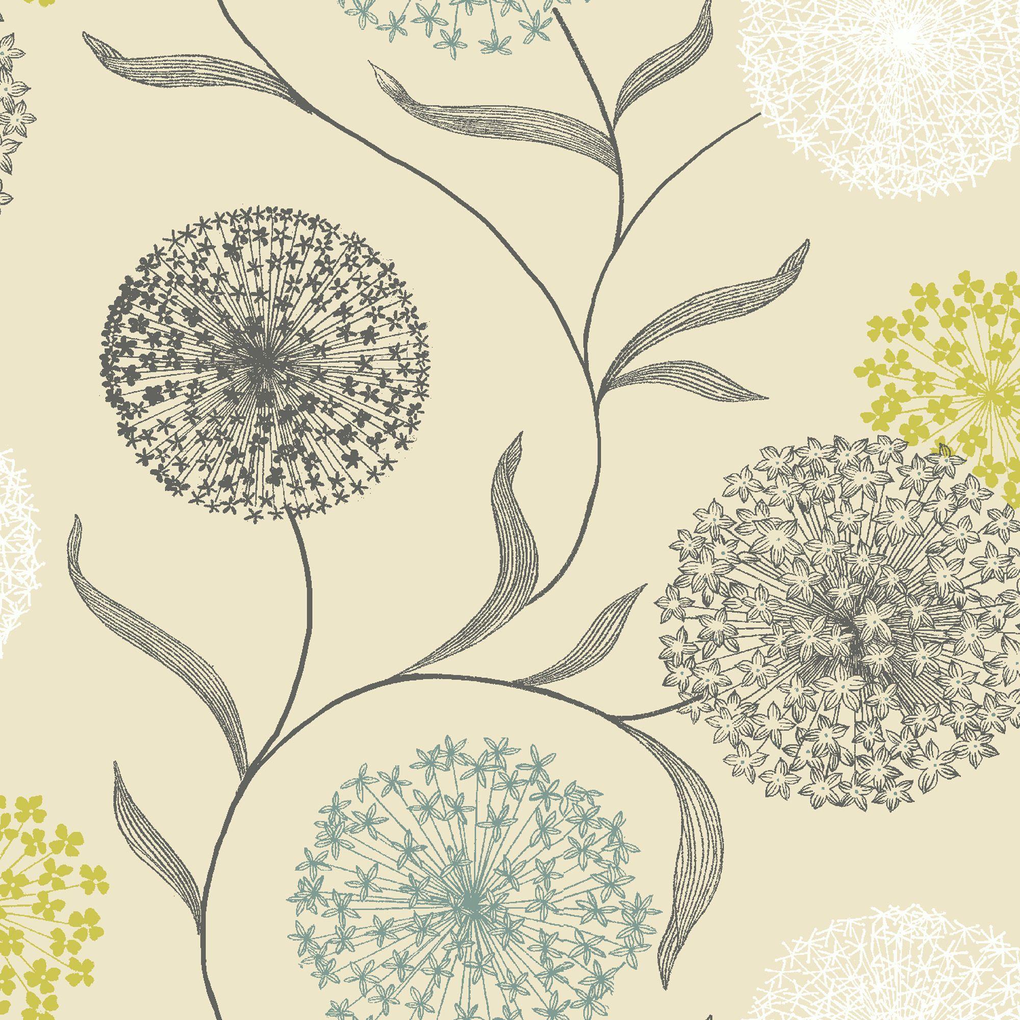 Starburst Floral Blue & Cream Wallpaper Departments