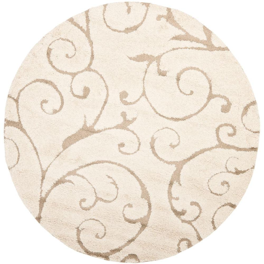 Safavieh Florida Shag Cream Beige 5 Ft X 5 Ft Round Area Rug Sg455 1113 5r The Home Depot Tropical Area Rugs Round Area Rugs Beige Area Rugs
