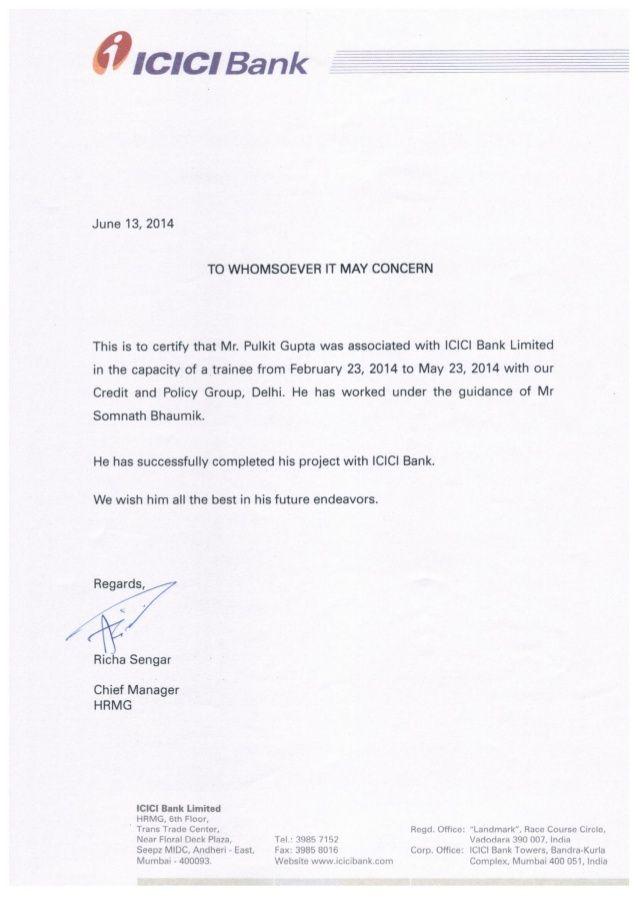 Icici Bank Summer Internship Certificate Summer
