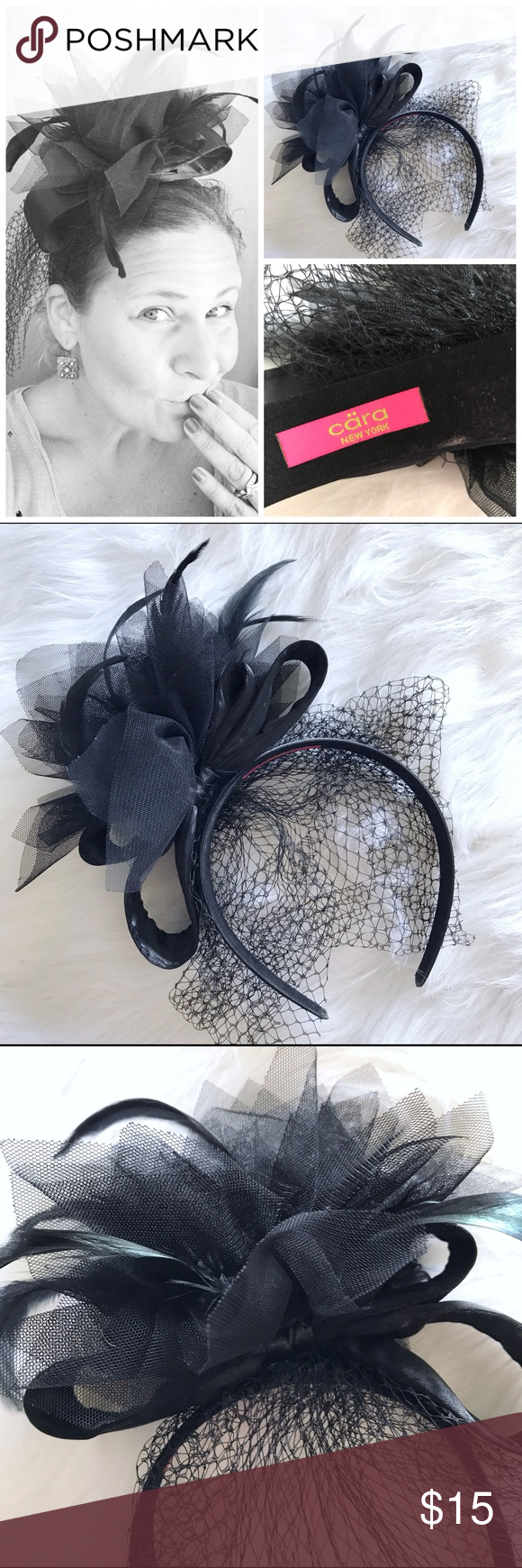 Cara NY Black Feather Veil Fascinator Headband LOVE THIS � Fascinator headband from Cara NY. Excellent condition. Perfect for Formal or fun. BR Nordstrom Accessories