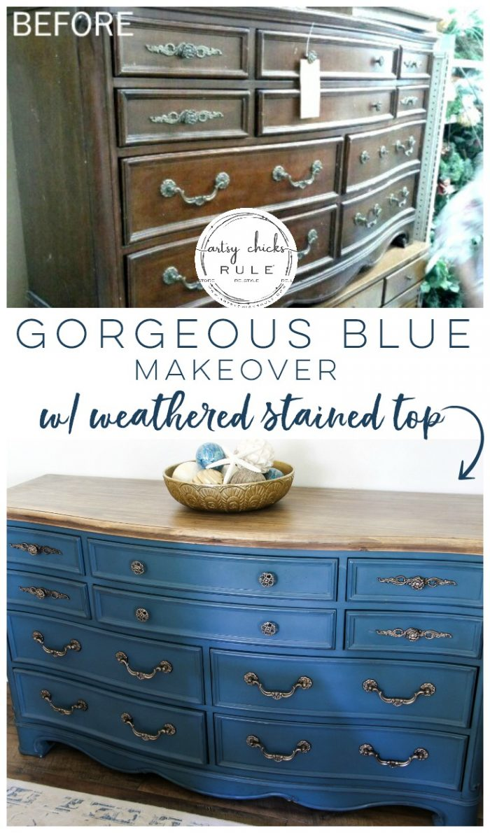 Aubusson Blue Chalk Paint DRESSER Makeover (again!!!) This time with a