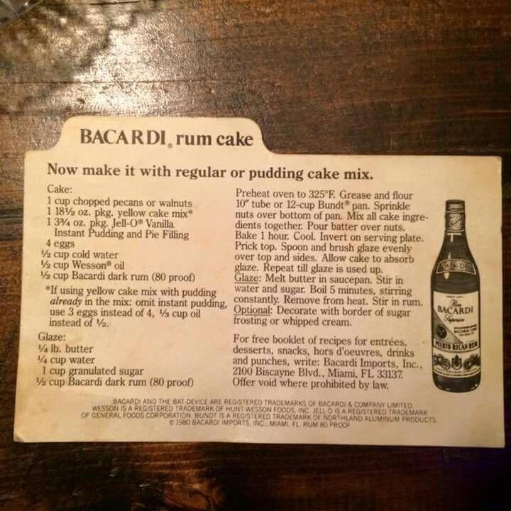 Rum Cake, Bacardi Rum Cake