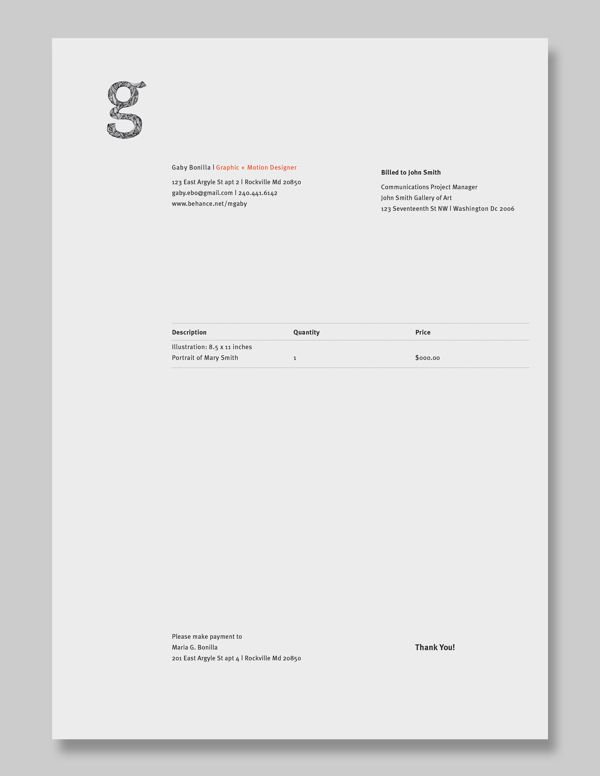 Personal Identity By Gaby BonillaEscala Via Behance Stuff I Like - How to make a personal invoice