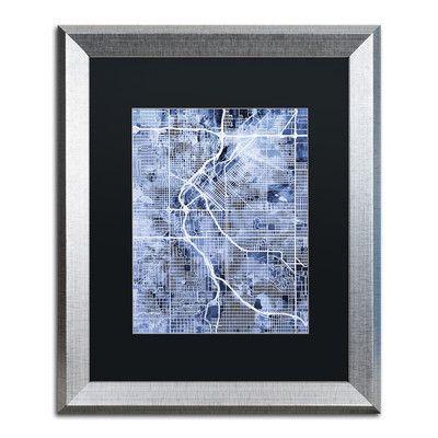"""Trademark Art """"Denver CO Street Map 2"""" by Michael Tompsett Framed Graphic Art Size:"""
