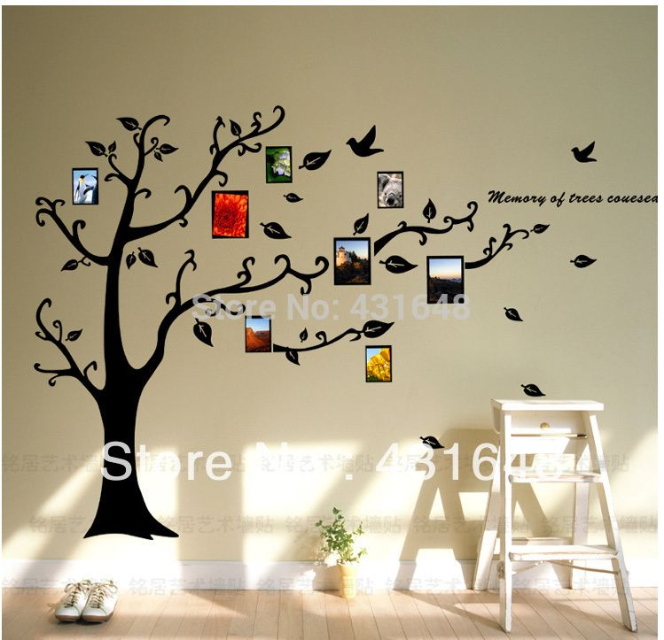 Photo frame family tree wall decal et vinyle art stickers muraux