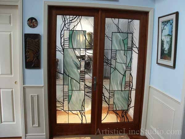 Stained Glass Interior Door Panels After Installation Glass