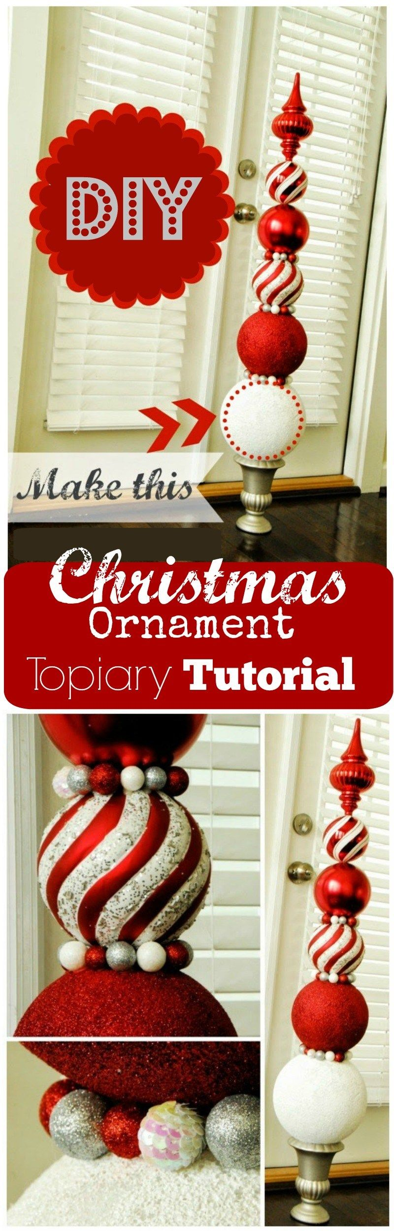 DIY Ornament Topiaries. Homemade christmas decorations