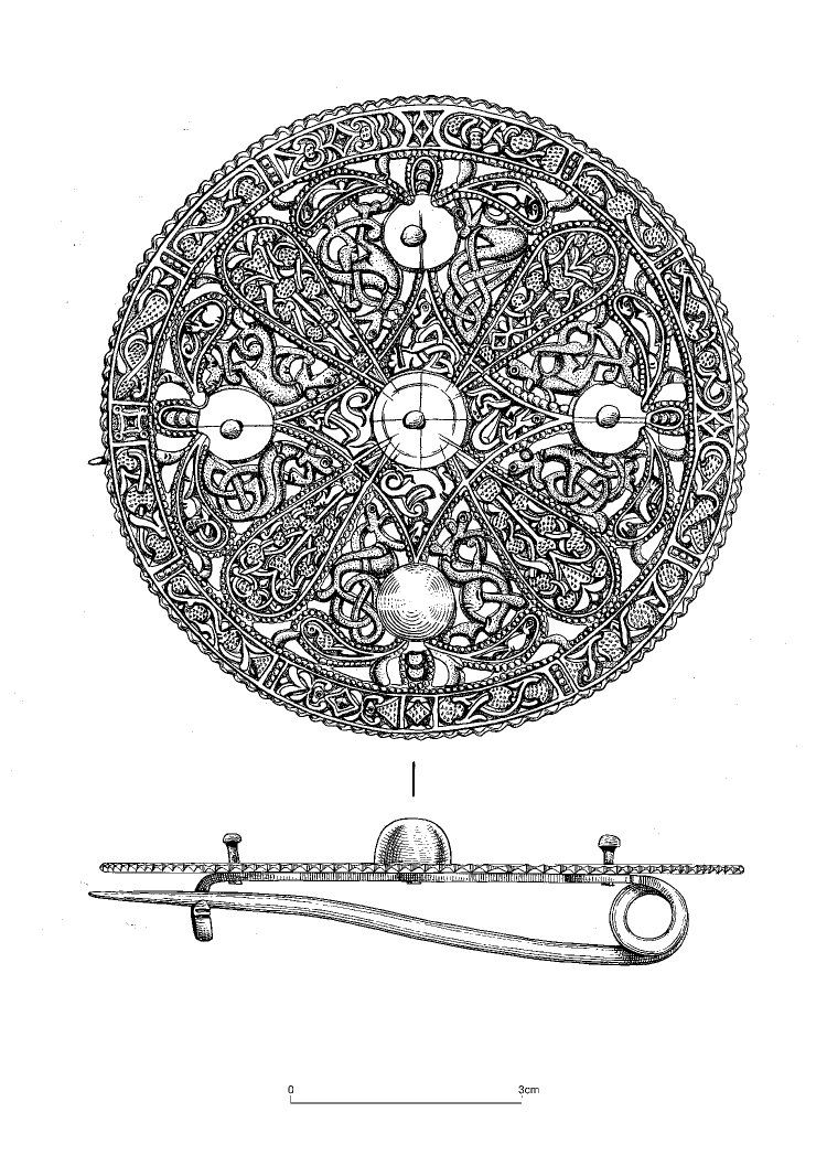 Open Work Silver Sheet Metal Disc Brooch Trewhiddle Style