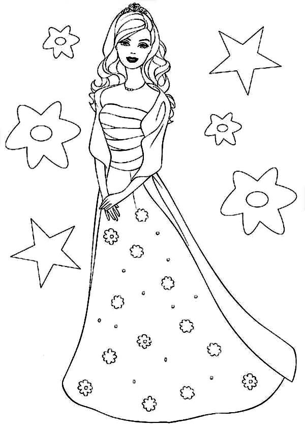 Barbie Wearing Starry Dress Coloring Pages Bulk Color Buku Mewarnai Gambar Kelinci Barbie