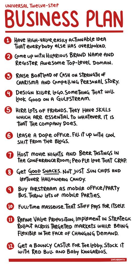 universal 12 step business plan when i get a good enough idea this
