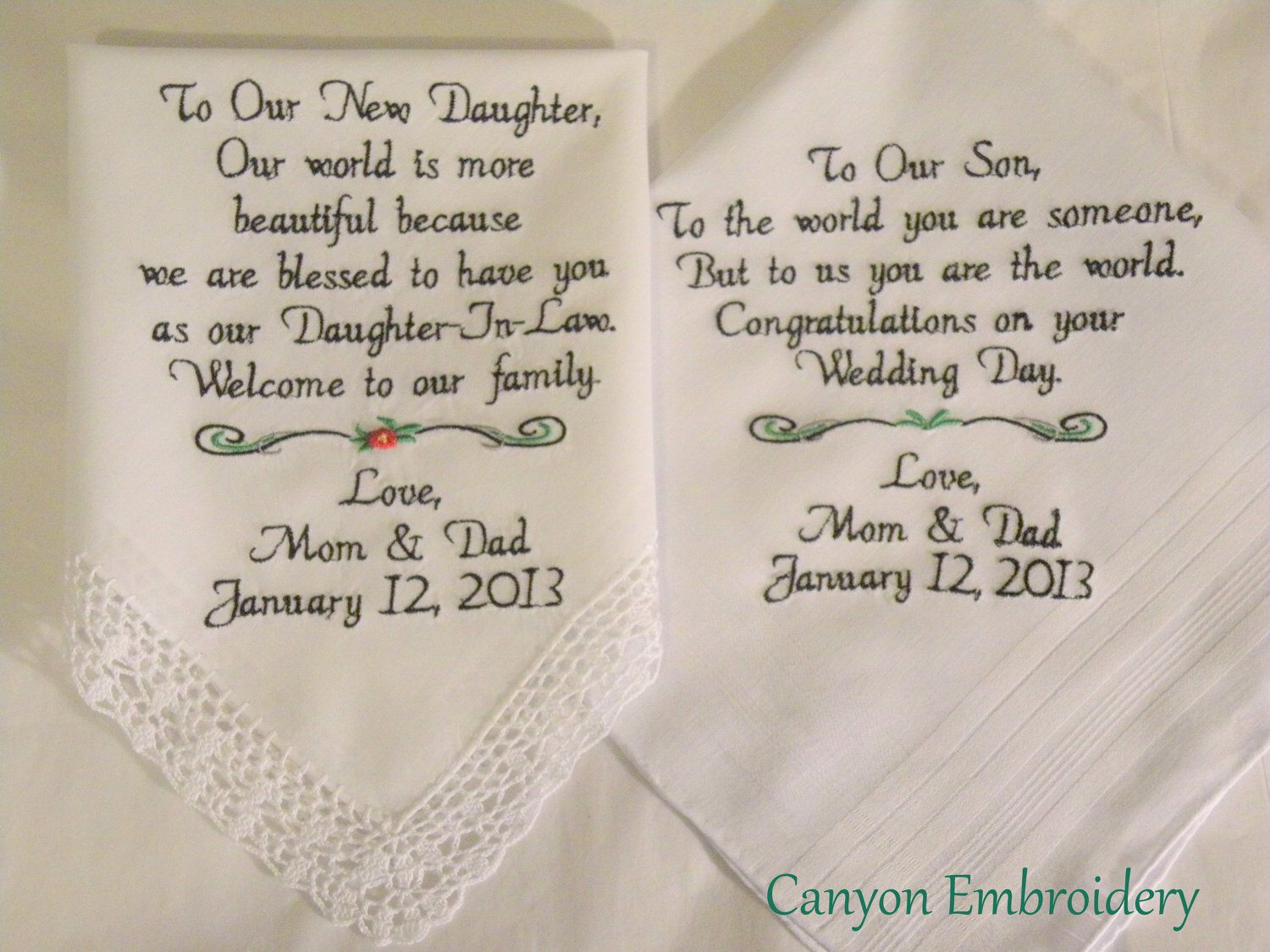 New Daughter Son Wedding Gift From Mom And Dad To The Bride Groom