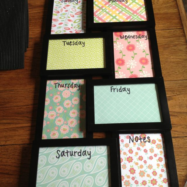 Made This Weekly Planner Very Easy And Cheap With A Frame From