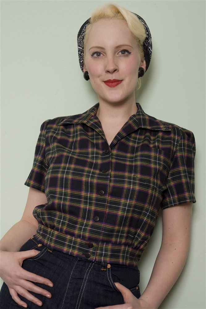 The Essential 1940s Style Blouse Vintage Frills: 1940's Work Blouse, Made From 100% Cotton Tartan With