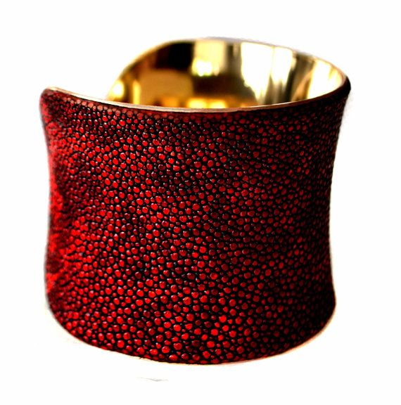 Red Metallic Stingray Gold Lined Cuff Bracelet by by UNEARTHED