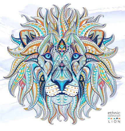 Chat Tatouage Tete Motif Du Lion Sur Le Fond Grunge Afrique Indien