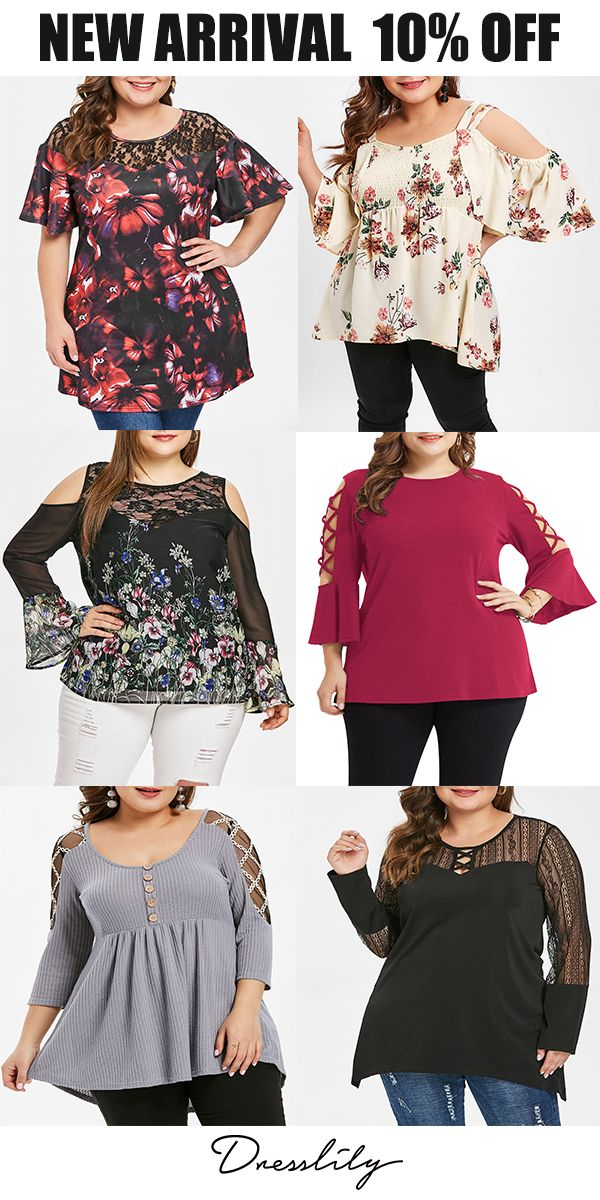0f648f07065 Plus Size Floral Print Lace Panel T-shirt.Extra 12% off code DL123   dresslily  tshirt