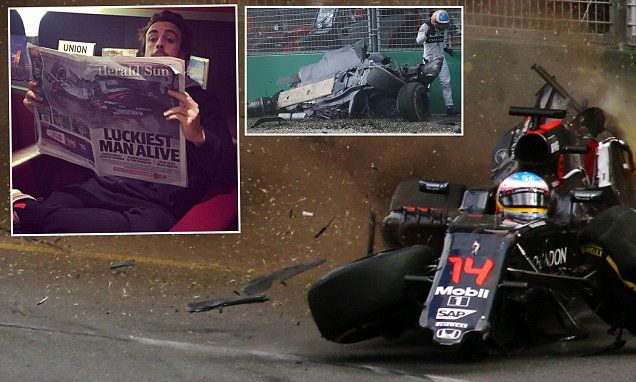 fernando alonso 39 luckiest man alive 39 as mclaren driver flies home f1 crash australian grand. Black Bedroom Furniture Sets. Home Design Ideas