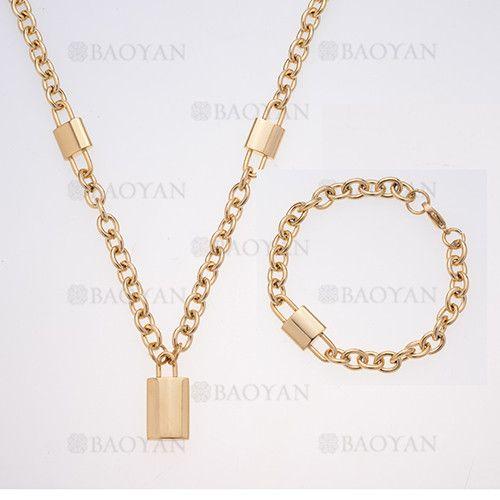17d8f2b27a17 juego brazalete y collar de grueso con candado dorado acero inoxidable -  SSNEG504007