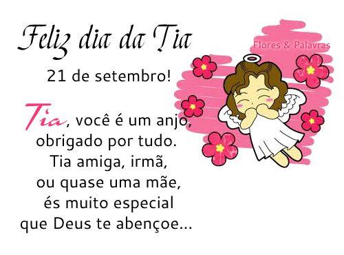 Feliz Dia Da Tia 21 De Setembro Tia Você é Um Anjo