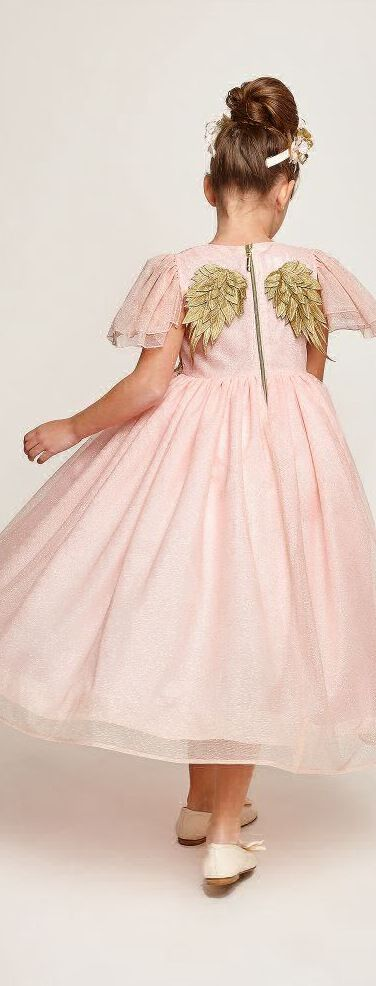 SALE !!! Gorgeous GRACI Girls Long Pink Tulle & Gold Angel Wing ...