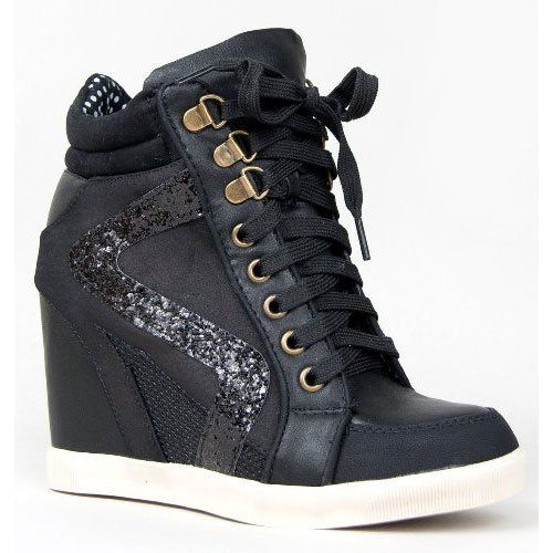 Amazon.com  Bamboo JODIE-01 Glitter Detailed Hidden Wedge Heel Lace Up High  Top Wedge Sneaker Shoe  Shoes b0cc24b9cc