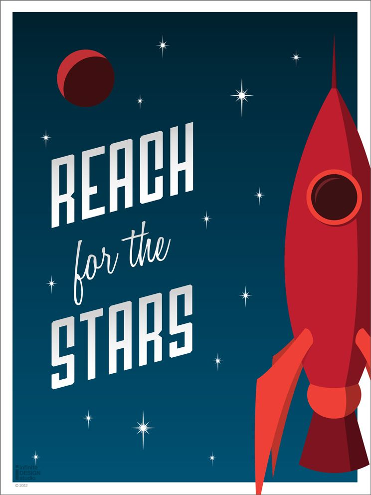 Rocket ship poster art kiddies pinterest shops art for Outer space poster design