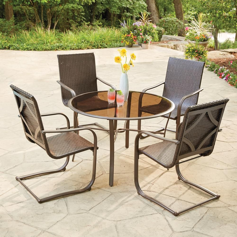 Hampton Bay Santa Cruz 5 Piece Wicker Outdoor Dining Set