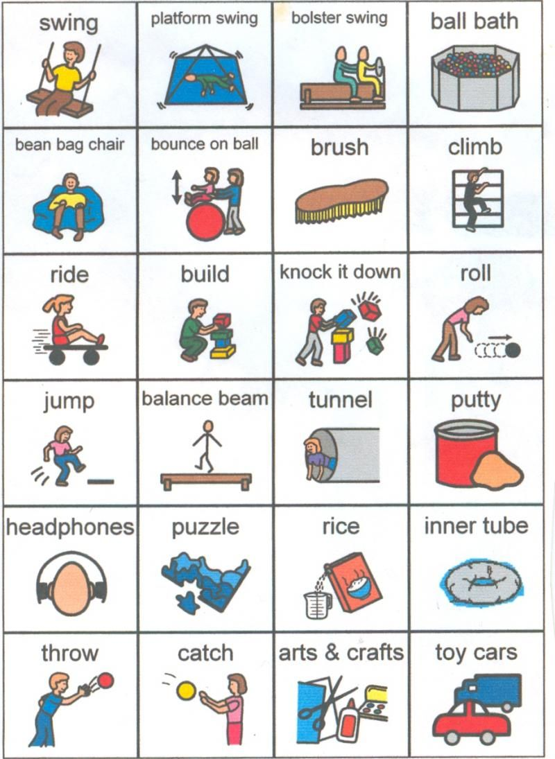 Occupational Therapy And Sensory Integration Picture Cards Autism
