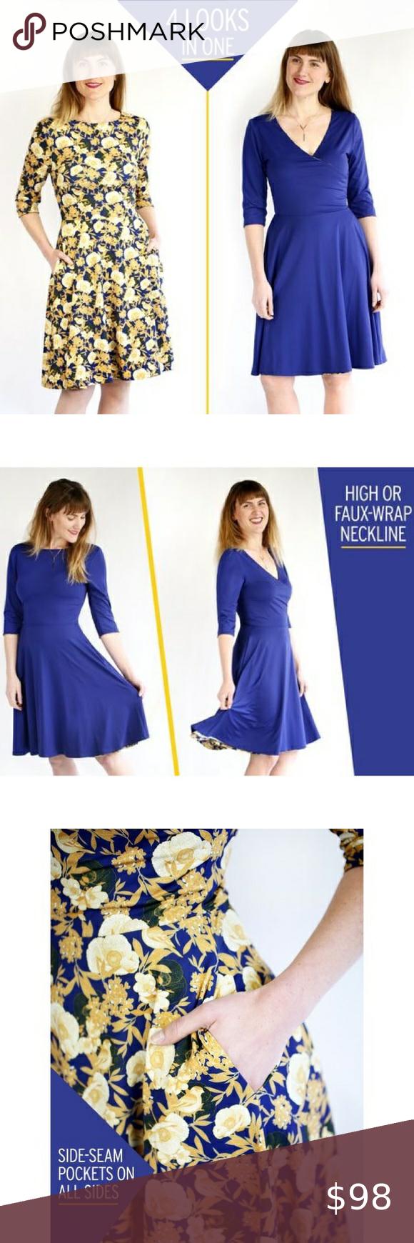 Betabrand Blue Yellow Round Trip Dress Size M Dresses Easy Wear Betabrand [ 1740 x 580 Pixel ]