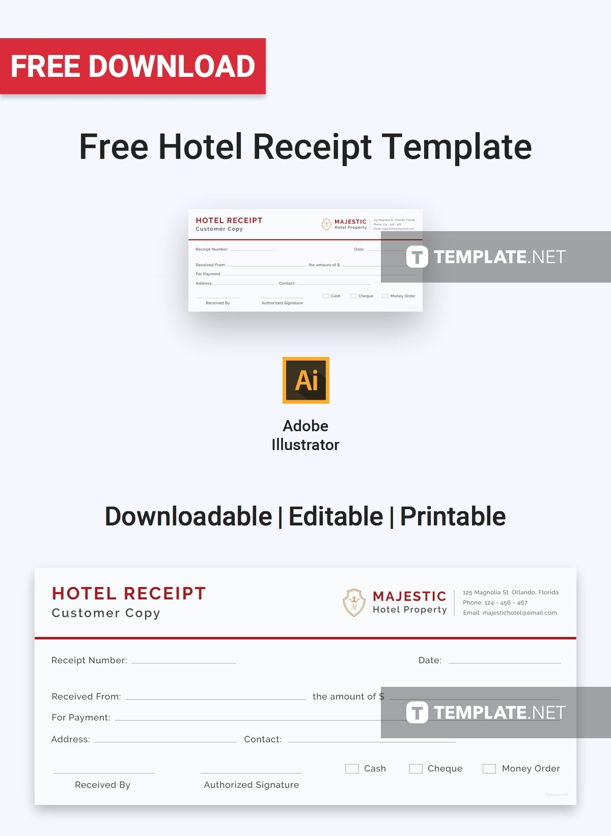 Free Simple Hotel Receipt Template Pdf Word Doc Excel Apple Mac Pages Apple Numbers Illustrator Receipt Template Templates Free Hotel