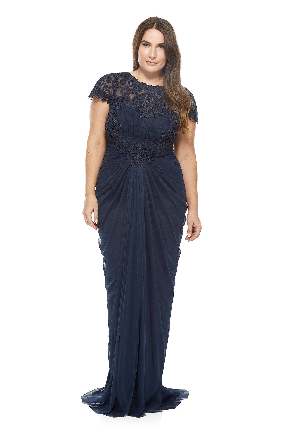 Corded lace and draped tulle gown plus size tadashi shoji