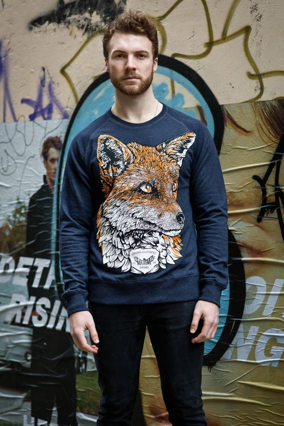 Fox sweatshirt animal fox jumper sweater organic jumper men's jumper unisex jumper skate wear urban apparel streetwear original design fJg98KVDYu
