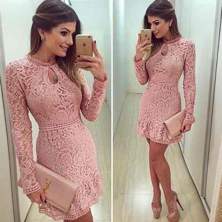 Lace dress pink Sexy lace Elegant short O neck Prom Dresses,Long ...