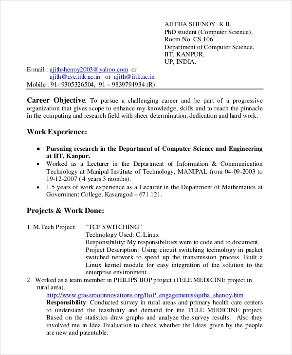 Resume Templates Computer Science (3) TEMPLATES EXAMPLE