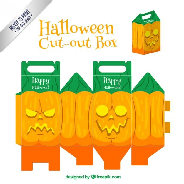 Halloween jack O' lantern style printable box template