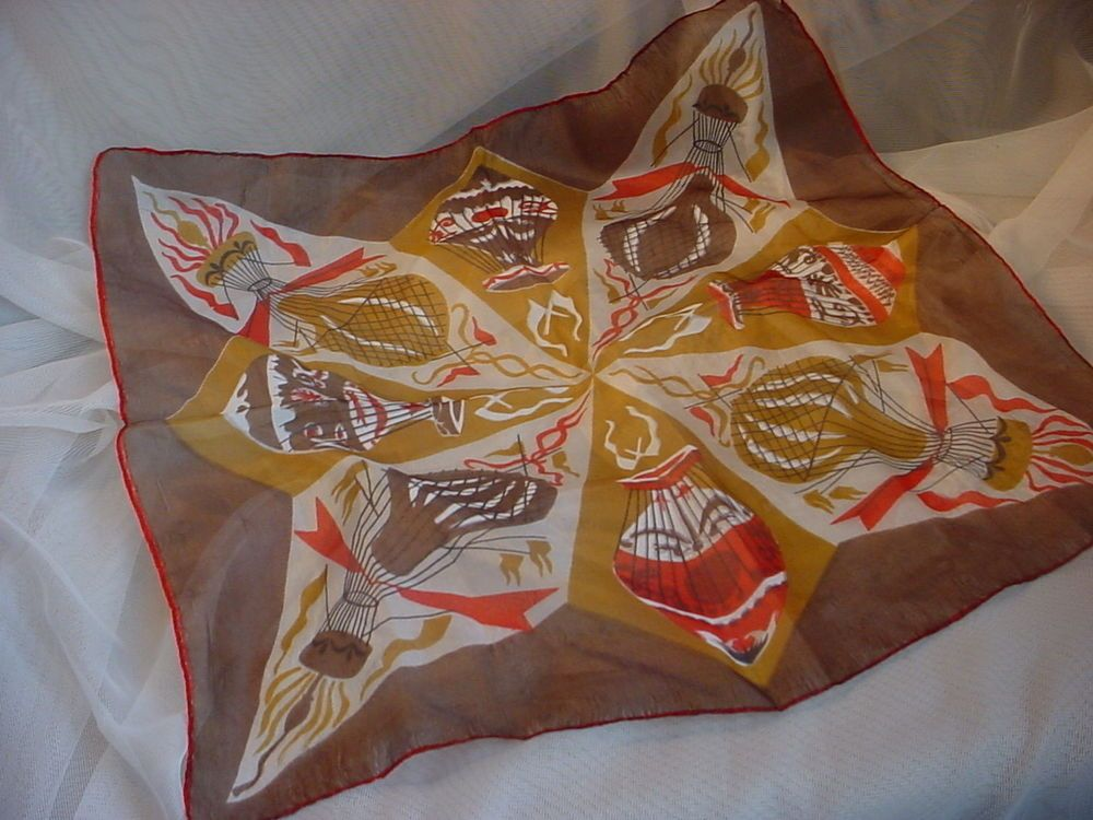 Vintage Silk Scarf Hot Air Balloon Motif and Rolled Edge Square Shape M1925 Seller florasgarden on ebay